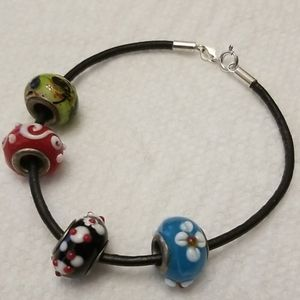 Jewelry - Sterling, Leather, and Lampwork Beads Bracelet